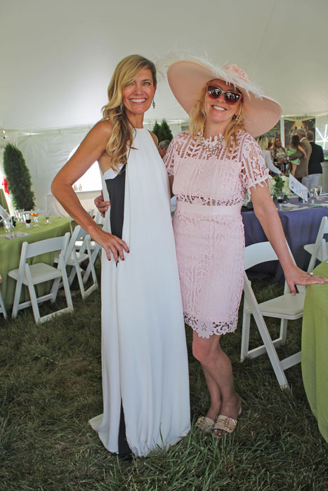 Julie Giuliani wearing Paula Cahen D'Anvers, with Patty Milligan wearing Parisian design by Danity Paris.