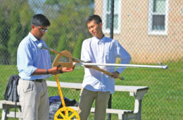 AP Physics students built and testing projectiles.