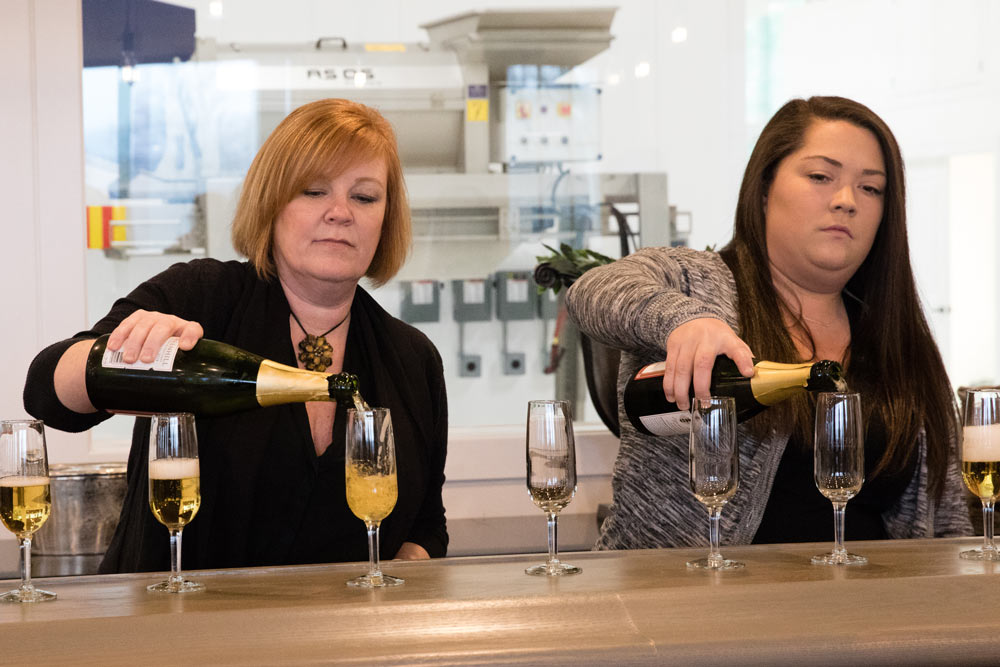 Greenhill staff poured countless glasses of sparkling wine on opening night.