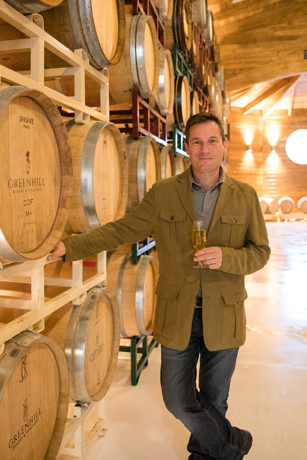 Greenhill winemaker Sébastien Marquet in the new barrel room.