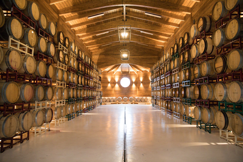 The beautiful new barrel room is likely the largest in the state.
