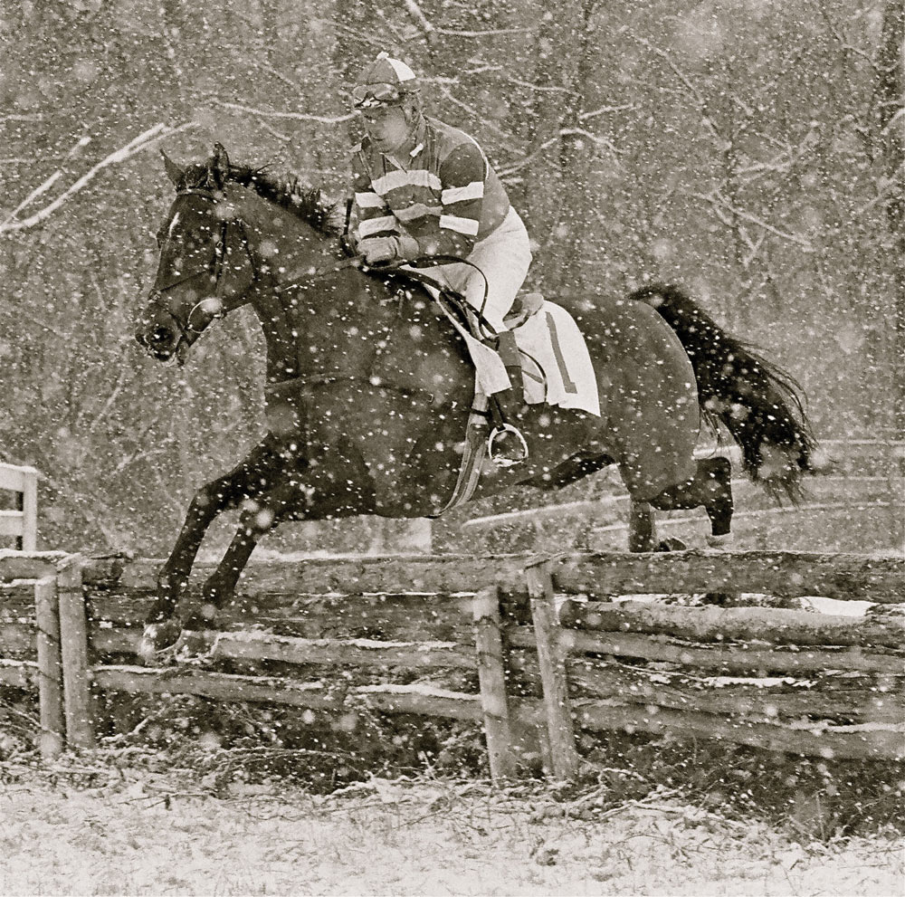 Randy Rouse on Cinzano in the February snow at the Casanova Point to Point, about 1990.