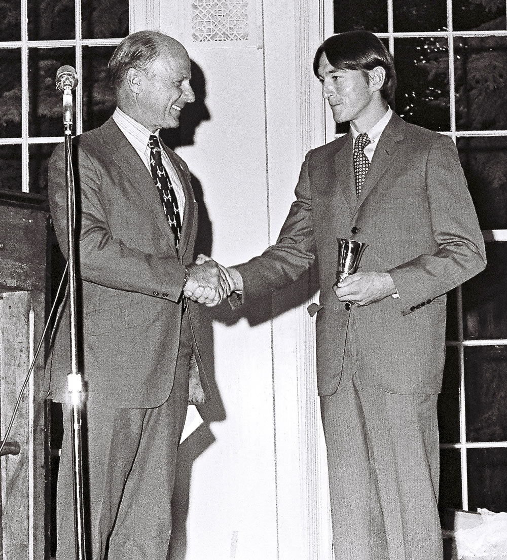 Rouse presents the F. Ambrose Clark Award to Jerry Fishback in 1972.