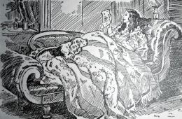 "Elizabeth Browning on her sofa with Flush, her cocker spaniel, reading a letter from Robert Browning. The illustration by Edwina is from ""Flush of Wimpole Street and Broadway"" by Flora Merrill, published in 1933."