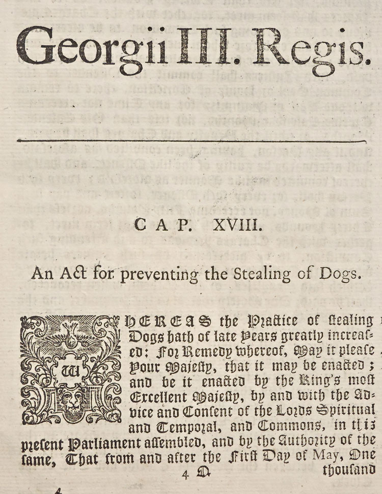 An Act for Preventing the Stealing of Dogs London 1770