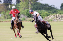 John Gobin rides up for a hook on the offside of Kevin Brown at Palm City Polo Club in Florida. (courtesy of Phelps Media Group.)