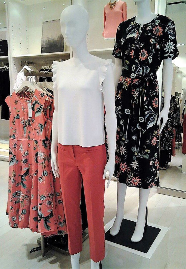 fe06517c6568 Ann Taylor Coral Oasis Dress (left) and Wild Flower Culotte Jumpsuit in  navy (right). Photo credit Summer Stanley