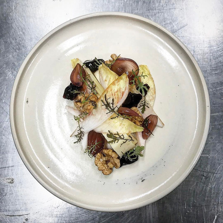 Stag cheese, endive, walnut, port. Photo credit Chef Tom Whitaker.