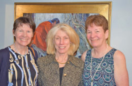 Artist Anita Baarns with hostess Sandy Danielson, accompanied by Mary Cornish.