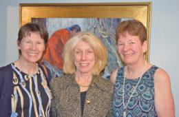 Artist Anita Baarns with hostess Sandy Danielson, accompanied by Mary Cornish.