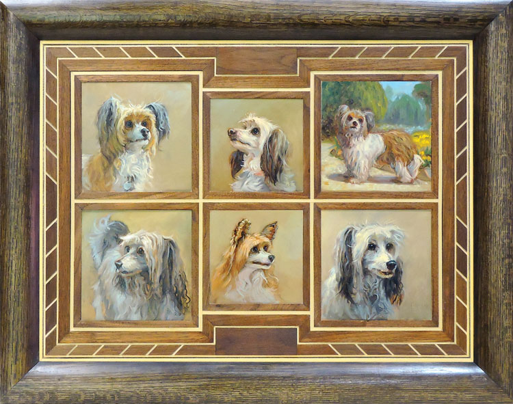 A group of Barham's small dog paintings framed together in oak and walnut.