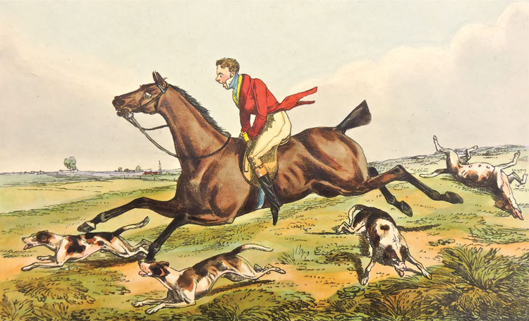 Going at a Swishing Pace from Alken's Characteristics Sketches of Hunting by Henry Alken. London, 1825. Courtesy of the National Sporting Library and Museum.
