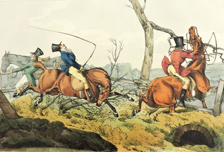 Breaking Cover by Henry Alken from Hunting, or Six Hours Sport. London, 1823. Courtesy of the National Sporting Library and Museum.