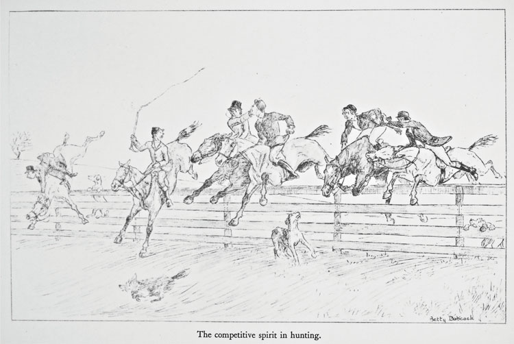 The competitive spirit in hunting. An illustration by Betty Babcock in Just Hunting by Harry T. Peters. New York, 1935.