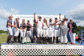 After a hard fought battle and great fun, Team Greenhill Winery & Vineyards celebrates its win over Beverly Equestrian in the Mars Cup Match.