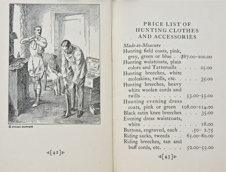 Dressing for the Hunt and a portion of the Price List from Hunting Hints for Novices.