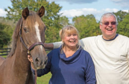 Mark and Susan Rivest with Lincoln, a recent rescue from the New Holland auction in PA. The couple are Lincoln's sponsors.