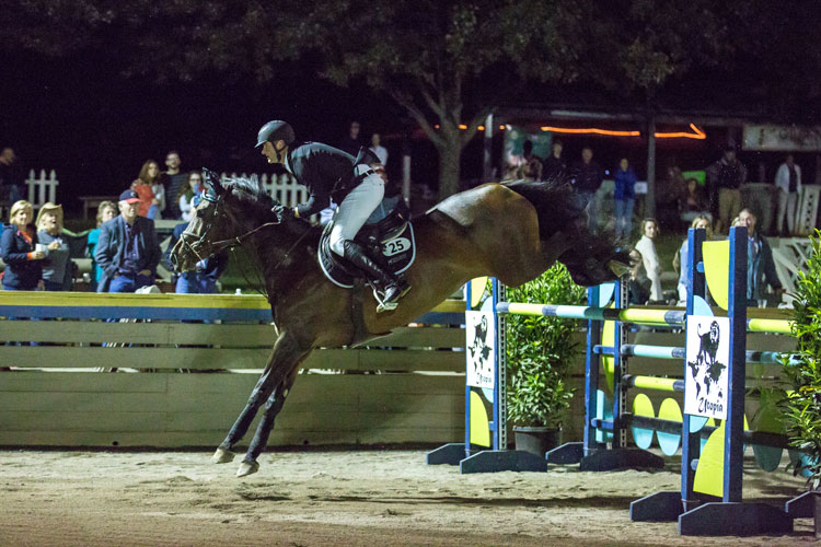 Matt Hollberg clears the final fence in the Mini Prix jump off on Fox View Farm's Philadelphia 54, to finish in 3rd place.
