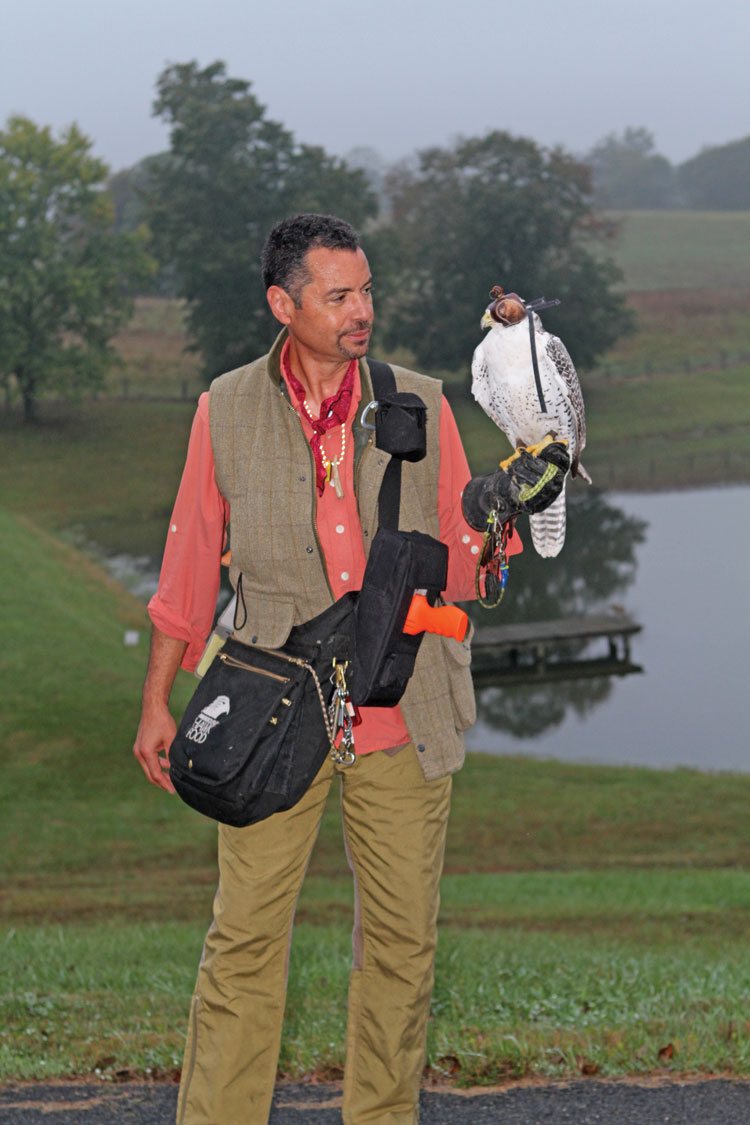 Mike Dupry and his Gyr Saker Falcon, Athena.