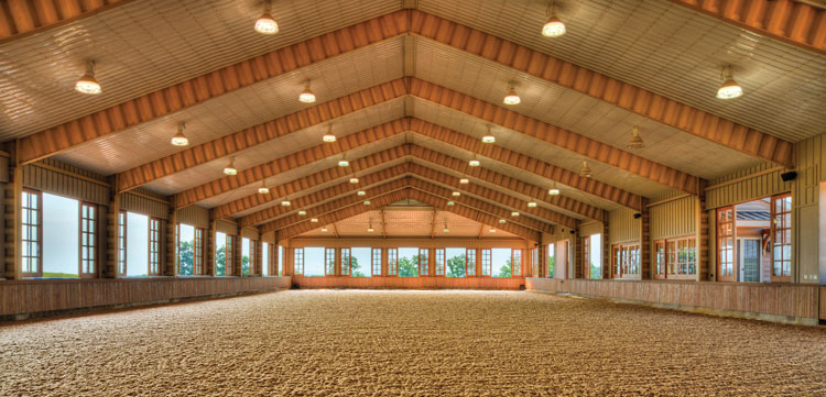 Indoor Arena by Attwood at St. Bride's Farm in Upperville. Photo courtesy of Attwood Equestrian Surfaces