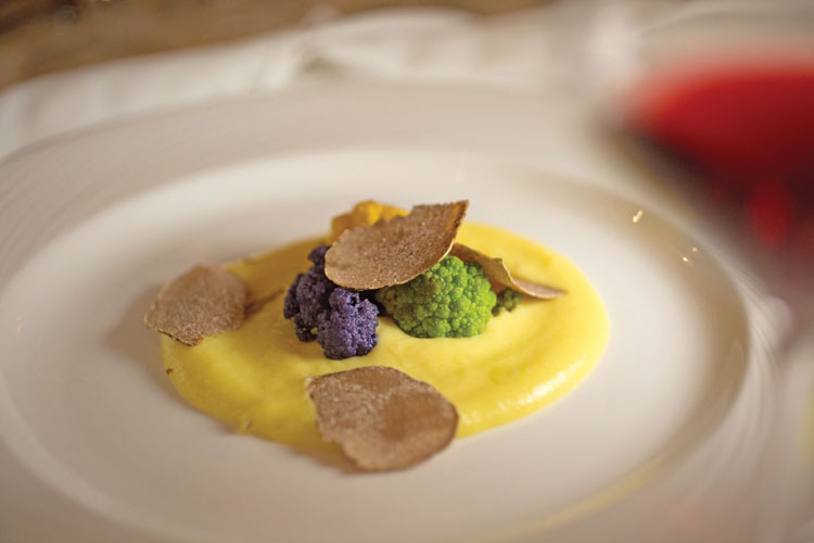 A colorful roasted cauliflower fonduta was paired with J.C. Claré 2016 for the first course.