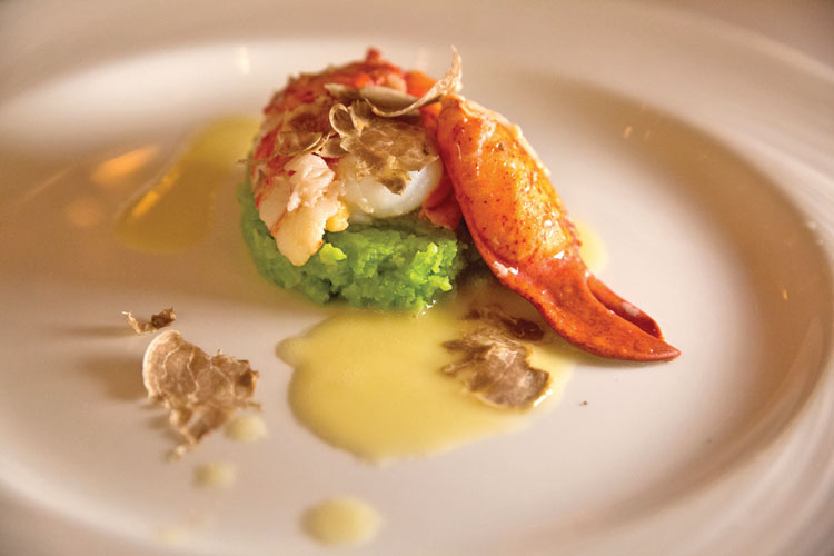 Maine lobster poached in butter was served over a green pea mash, paired with the spectacular N.S. della Neve Rosé Brut.