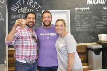 Reuben Bajaj (left), owner of The Shoppes at Main and Maple - White Star Investments, with Pop Culture owners Joel Rogozinski and Holly Bagwell.