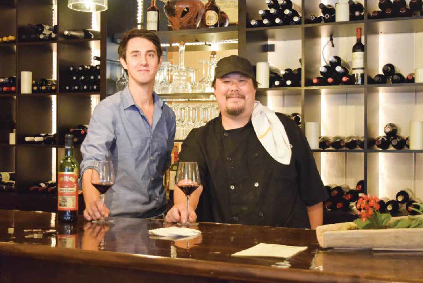 : Julien Lacaze and Chef Matthew Smith welcome guests to the Bord'ô's bar for tapas and fine wines.