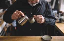 Brandon Belland of Cordial Coffee practicing his cupping. Photo by Hilary Hyland Photography.