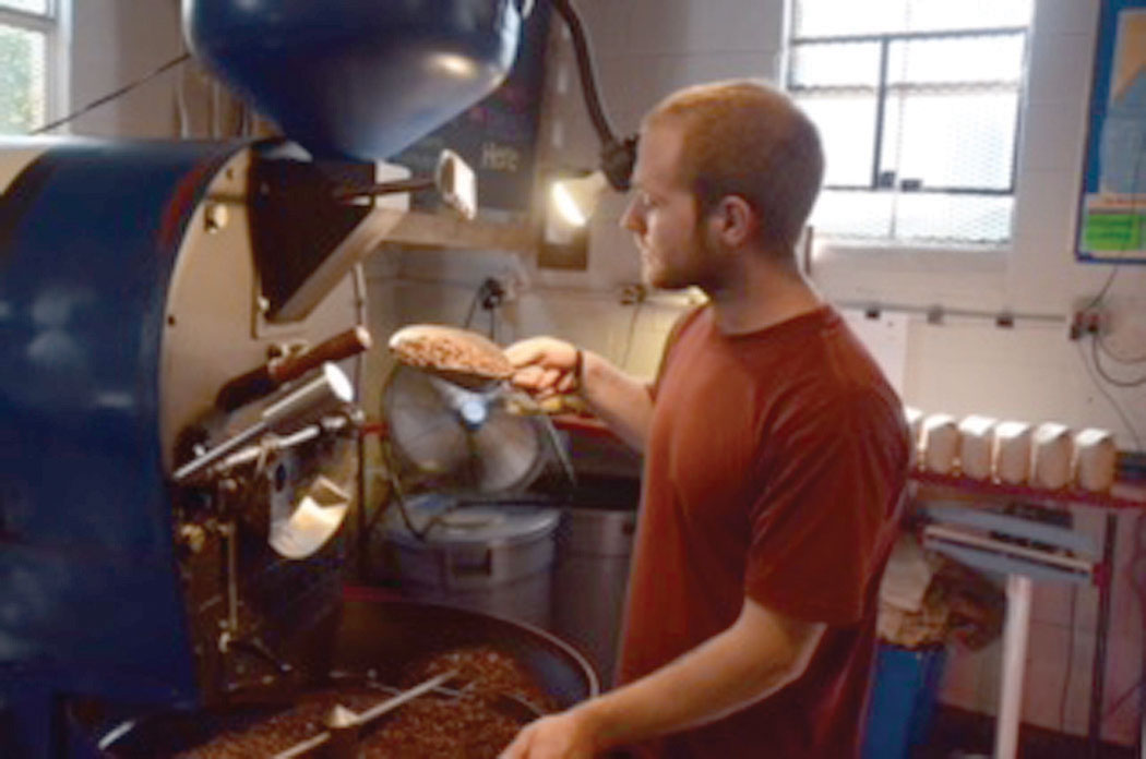 Kellie Capritta of Catoctin Coffee Company roasting coffee. Photo courtesy of Kellie Capritta.