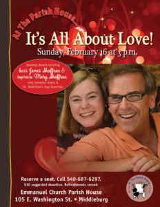 It's All About Love! Songs for the Valentine Season @ Parish House of Emmanuel Church |  |  |